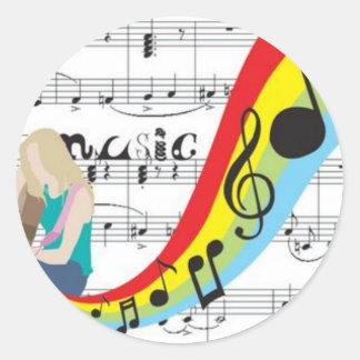 Música notas colores etiqueta