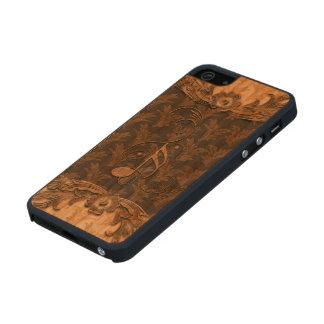 Música, notas dominantes y elementos florales funda de madera para iPhone SE/5/5s