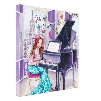 Música Nueva York - lona de la mariposa del piano Impresiones En Lona