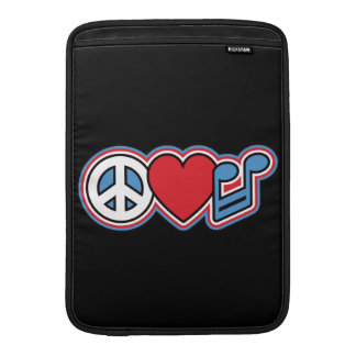 Música patriótica del amor de la paz fundas MacBook