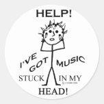 Música pegada en mi cabeza pegatina redonda