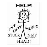 Música pegada en mi cabeza tarjeta postal