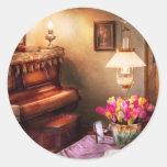 Música - piano - el cuarto de la música pegatina redonda