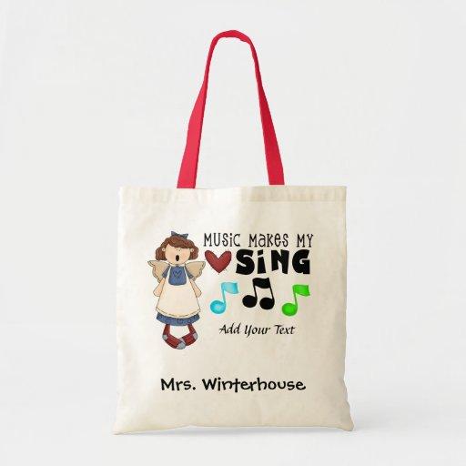 Música - profesor - estribillo - personal - tote d bolsas de mano