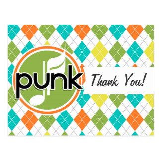 Música punky; Modelo colorido de Argyle Tarjetas Postales