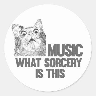 ¡Música! ¿Qué brujería es ésta? Meme del gato Etiqueta Redonda