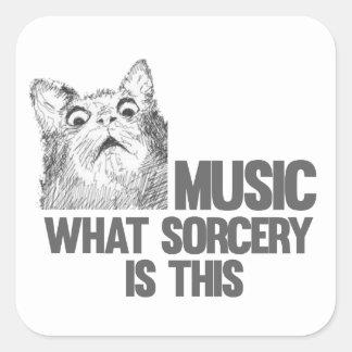 ¡Música! ¿Qué brujería es ésta? Meme del gato Pegatina Cuadradas Personalizadas