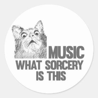 ¡Música! ¿Qué brujería es ésta? Meme del gato Pegatina Redonda