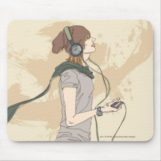 Música que escucha de la mujer joven alfombrilla de raton