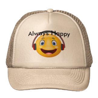 Música que escucha feliz del Emoticon Gorras