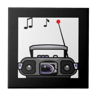 Música que juega de radio del dibujo animado azulejo cuadrado pequeño