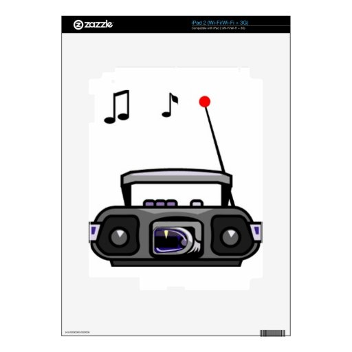 Música que juega de radio del dibujo animado calcomanía para el iPad 2