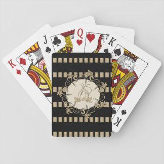 Música, rayas elegantes como fondo con la nota cartas de juego
