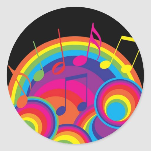 Música retra pegatina redonda
