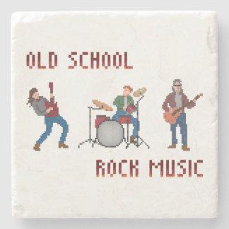 Música rock de la escuela vieja del pixel posavasos de piedra