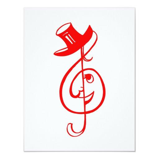"""música roja aguda design.png del sombrero de copa invitación 4.25"""" x 5.5"""""""