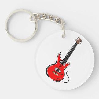 música roja graphic.png de la guitarra eléctrica llavero redondo acrílico a doble cara