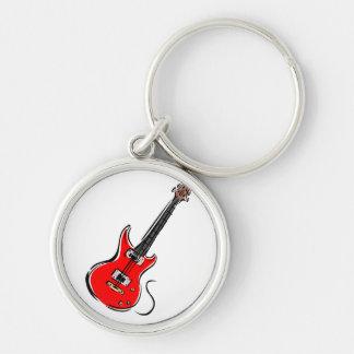 música roja graphic.png de la guitarra eléctrica llavero redondo plateado