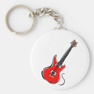 música roja graphic.png de la guitarra eléctrica llavero redondo tipo pin