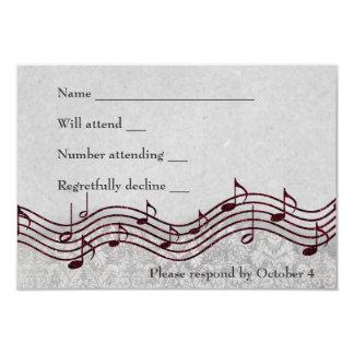 """Música roja RSVP del damasco gris Invitación 3.5"""" X 5"""""""