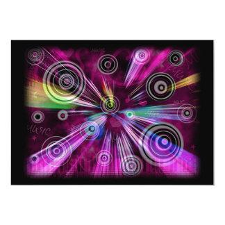 """Música rosada y púrpura invitación 5"""" x 7"""""""