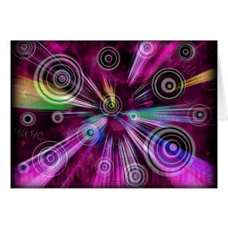 Música rosada y púrpura tarjeta de felicitación