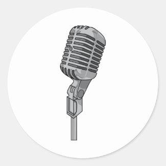 Música sana audio del ~ de Mike del micrófono Pegatina Redonda