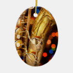 Música - saxofón - muy saxxy adorno navideño ovalado de cerámica