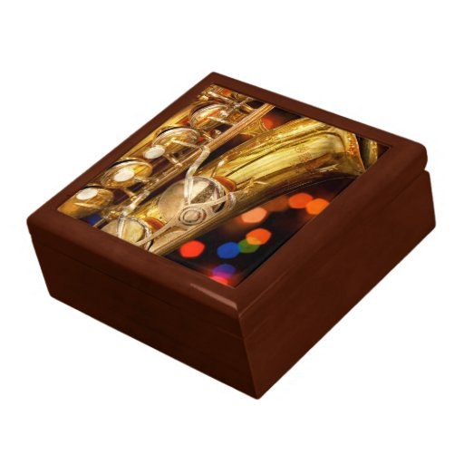 Música - saxofón - muy saxxy caja de recuerdo