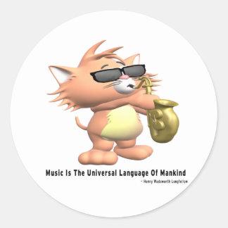 Música-Universal-Lengua Pegatina Redonda