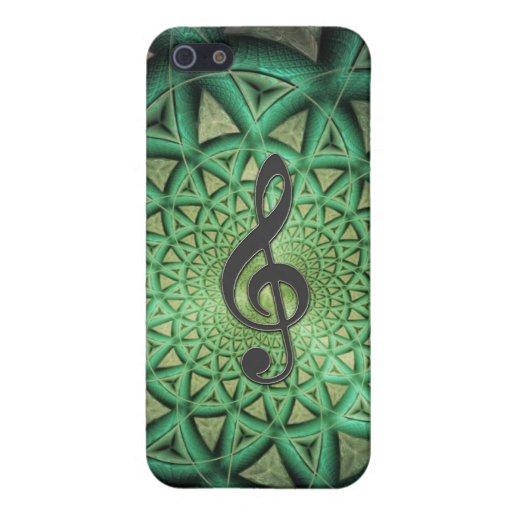 Música verde i del fractal del metal iPhone 5 carcasa