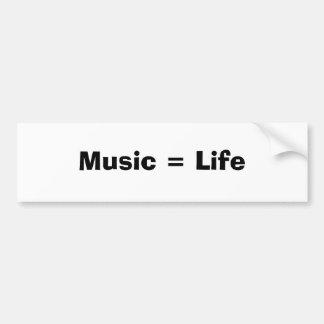 Música = vida pegatina para auto