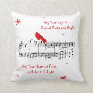 Música y almohada cardinal roja del navidad del