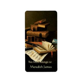 Música y Bookplate de los libros Etiquetas De Dirección