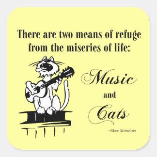 Música y gatos 2 - cita de Schweitzer Pegatinas Cuadradas Personalizadas