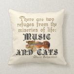 Música y gatos almohada