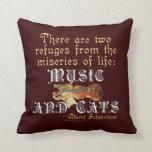 Música y gatos cojin