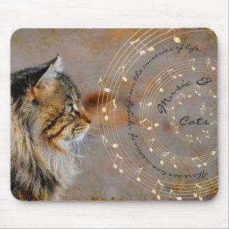 Música y gatos Mousepad Alfombrillas De Ratón