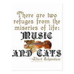 Música y gatos postal