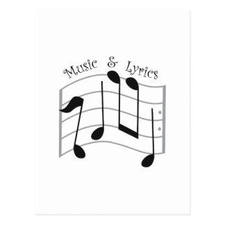 Música y letras postales