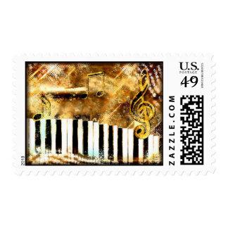 Música y notas del piano sellos