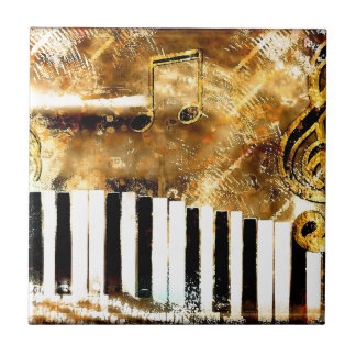 Música y notas elegantes del piano azulejo cerámica