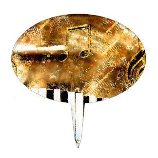 Música y notas elegantes del piano del destino figura de tarta