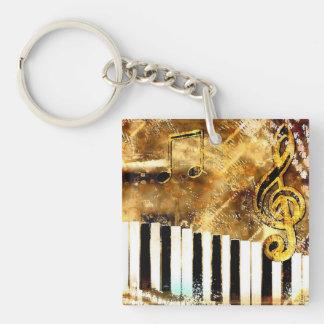 Música y notas elegantes del piano llavero cuadrado acrílico a doble cara