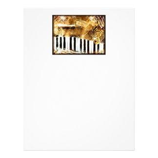 Música y notas elegantes del piano plantillas de membrete