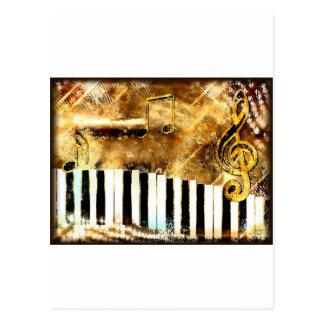 Música y notas elegantes del piano postal