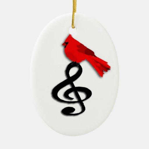 Música y ornamento rojo del navidad del pájaro adorno navideño ovalado de cerámica