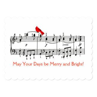 """Música y tarjeta de Navidad roja cardinal del Invitación 5"""" X 7"""""""