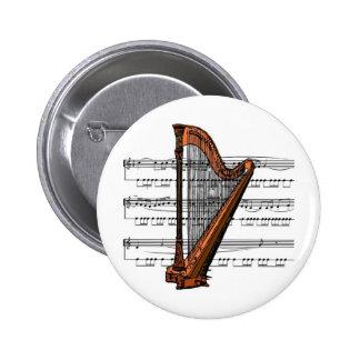 Musical 02 B de la arpa Pin Redondo De 2 Pulgadas