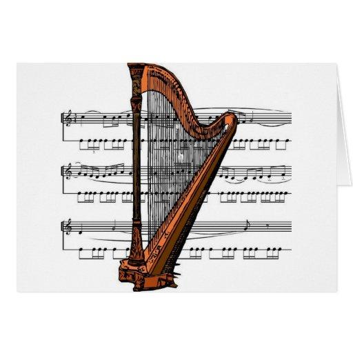 Musical 02 B de la arpa Tarjeta De Felicitación